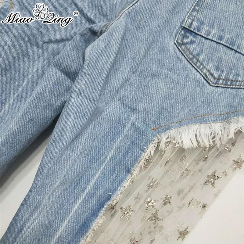 Ancho Moda De Malla Otoño 2018 Estrella Patchwork Azul Vaqueros Pantalones Mujer Pantalón Denim Sexy Transparente Ropa Miaoqing Rasgados Jeans w68XfxqXz