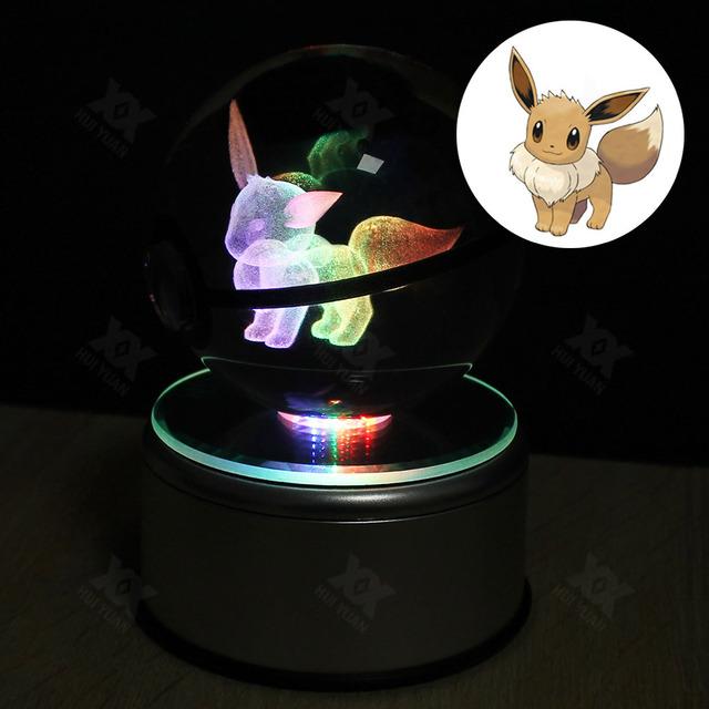 Libre de EE.UU. Crystal Ball Pokemon sela diseño ir Láser 9 Eevee Grabado LED giratoria base de Niños como la luz de la noche 3D