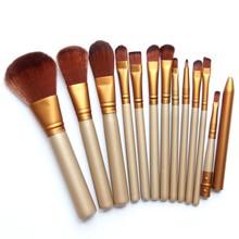 12 Pcs/lot Face &Eye Powder Blusher Professional Cosmetics Make Up Brushes Set Foundation Golden