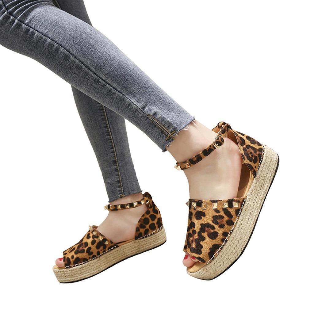 pu Romaines fond Dames Tissé noir Playform De Chaussures Mokingtop mokingtop Ciel Femmes Beige marron Boucle bleu Sandales G5 Rivet Plat Épais Femme vHW4Owq