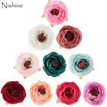 NISHINE 30pcs/lot 1.8 Fabric Rose Flower For Corsage Brooch Headwear DIY Hair Accessories Wedding Party Decoration