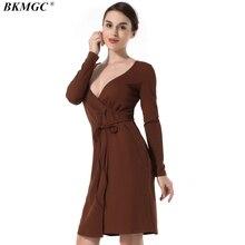 BKMGC Women Dress New Arrive Casual Solid Full Sleeve Vintage Ladies Dresses Knee-Length V-Neck Autumn Winter Feminina Dresses