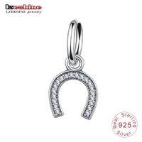 LZESHINE 100% 925 Sterling Silver CZ Letter C Dangle Charms Beads Fit Original Bracelet Pendant Fine Jewelry Gift PSMB0467