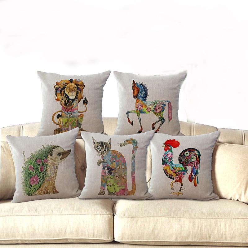 coton lin 18 carre couleur impression animale decoratif canape doux taille throw coussin couverture coffre maison couverture de chaise