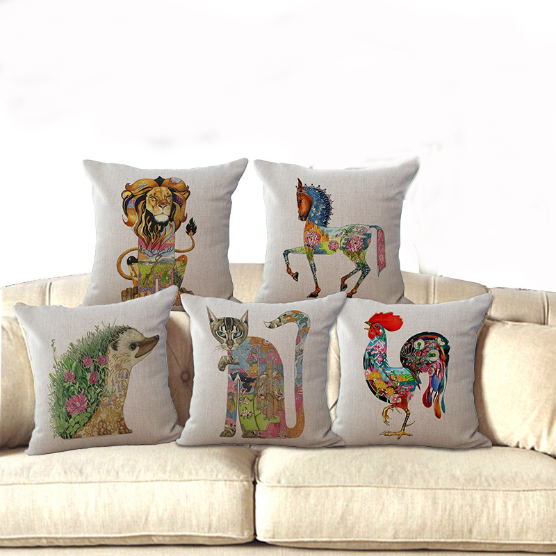 "Cotton Linen 18"" Square Color Animal Printing Decorative Sofa Soft Waist Throw Cushion Cover Coffer House Chair Cover"