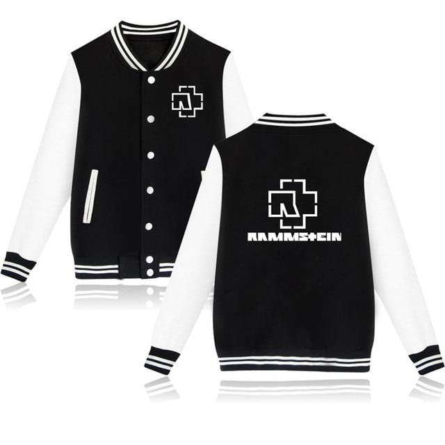 Rammstein Baseball Hoodie Jackets for Men Long Sleeve Hip Hop Hoody Sweatshirt XXXL Rammstein Black Hoodies