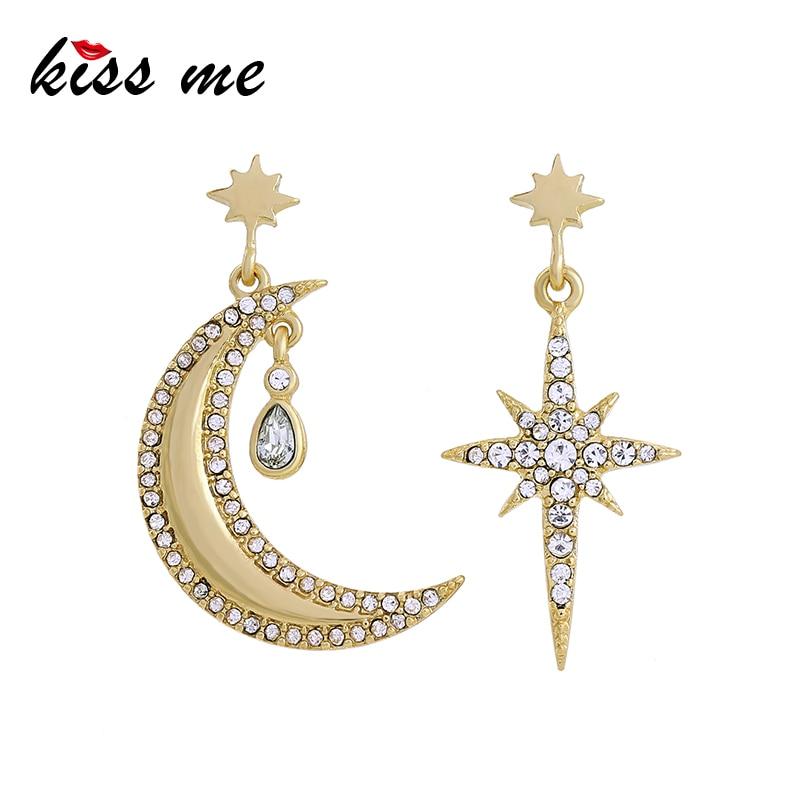 Kissme Asymmetric Earrings Korean Fashion Gold Color Star Moon Rhinestone Dangle Earrings Women Accessories