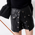 Luxury European New High Quality PU Shorts Skirts Women's Sexy Metal Button Leather Shorts Lady's Casual All-match Skirts SY930