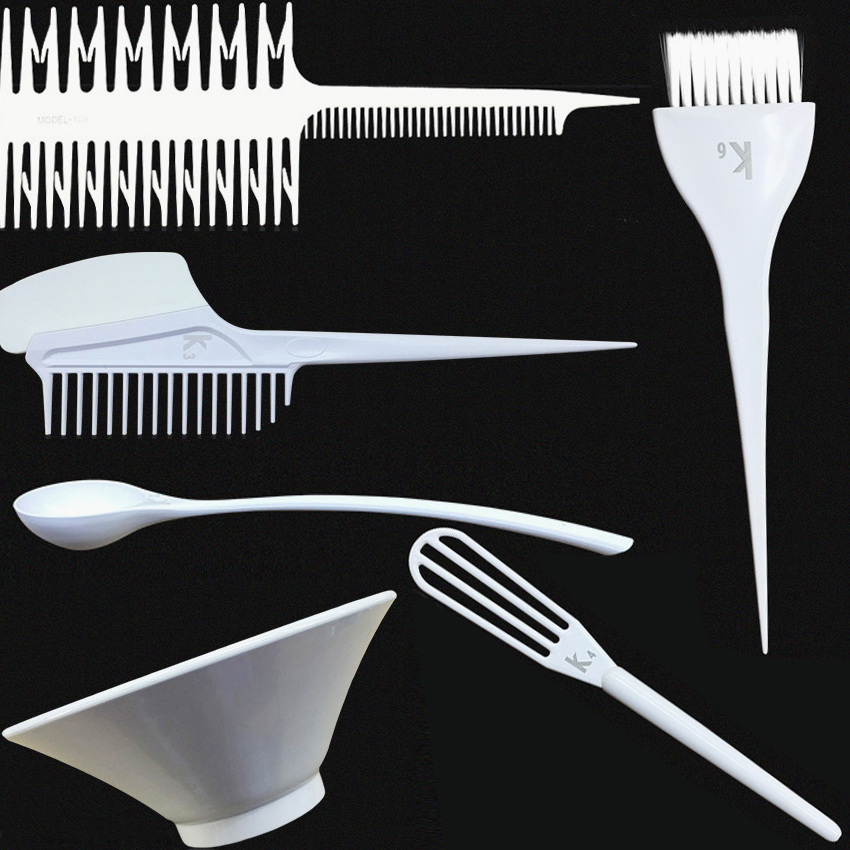 Pro 6 Designs PET Hair Color Mixing Comb Brush Kit Hairstyling Tools Hair Dye Mixing Bowl Hairdressing Coloring Tools Set P-060