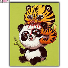 MOONCRESIN DIY Diamond Painting Cross Panda& Tiger Playing Embroidery Square Drill Mosaic Decoration Rhinestones