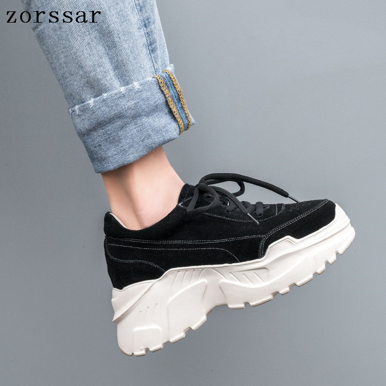 2019 Spring Women Flats Shoes Platform Sneakers Shoes   Leather     suede   Casual lady shoes lace up flats heels creepers moccasins