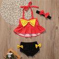 Summer Cute Dot Sailor Child Bikini Falbala 2017 Swimwear High Waisted Bathing Suit for Baby Girls Biquini Children Swimwear
