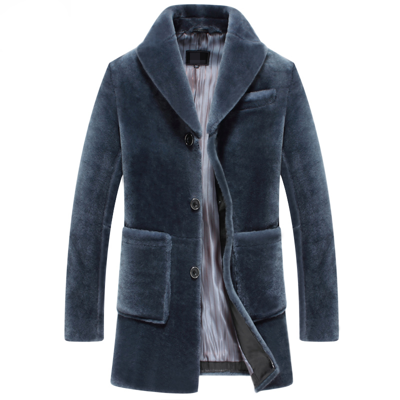 Leather suede men real fur coat winter sheep shearing thick warm fur jacket medium long free shipping New Phoenix 1222K