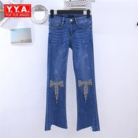 2018 New Rhinestones Bow Flare Jeans Women Washed Irregular Buttom Ankle Length Jeans Pearl Flower Zipper Fly Denim Trousers