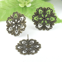 100pcs 21mm Antique Bronze Flower Copper Earplugs,earmuffs studs cameo,earrings base setting stud accessories