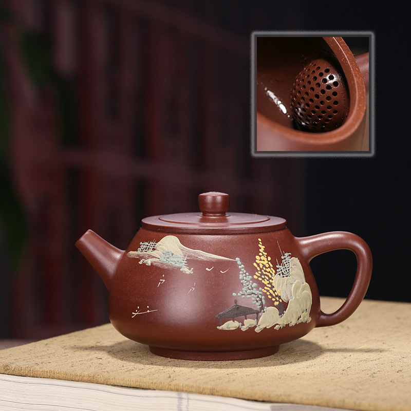 Manual Dark-red Enameled Pottery Teapot Shipiao Kettle Mud Painting Landscape Teapot Online Store A Piece Of Generation HairManual Dark-red Enameled Pottery Teapot Shipiao Kettle Mud Painting Landscape Teapot Online Store A Piece Of Generation Hair
