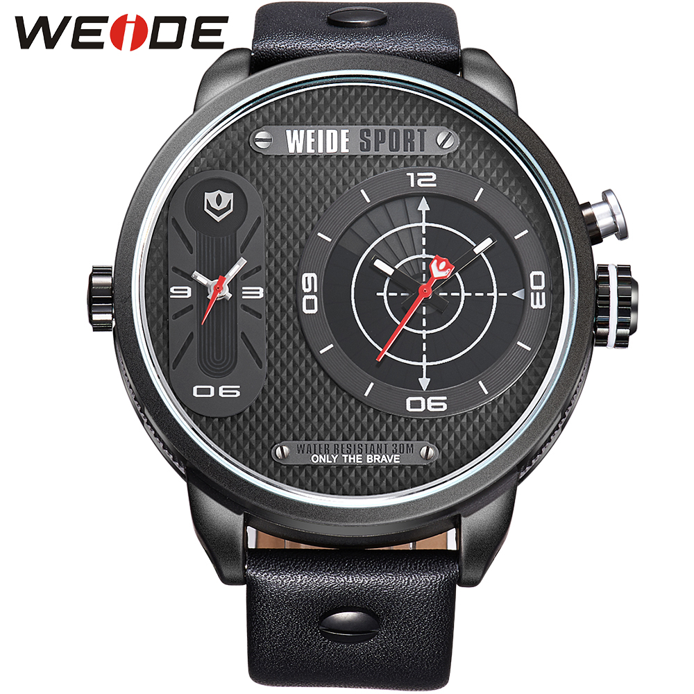 ФОТО New Arrival WEIDE Men Sports Watches Brand Luxury Leather Strap Men Quartz Mov't Two Time Zones Display Waterproof Black relojes