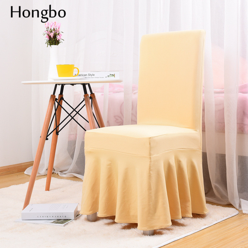 Hongbo Wedding Banquet Chair Protector Slipcover Decor Solid Colors Pleated Skirt Style Chair Covers Elastic Spandex High Qualit in Chair Cover from Home Garden