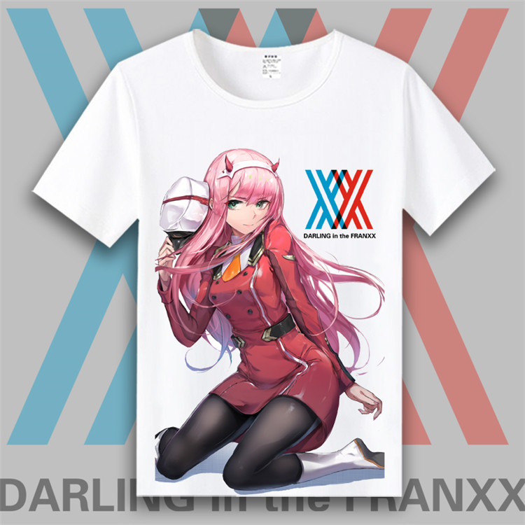 DARLING in the FRANXX  02 Zero Two T-shirt cosplay Japanese game animation adult men and women Kids 3D printing T-shirt Costumes