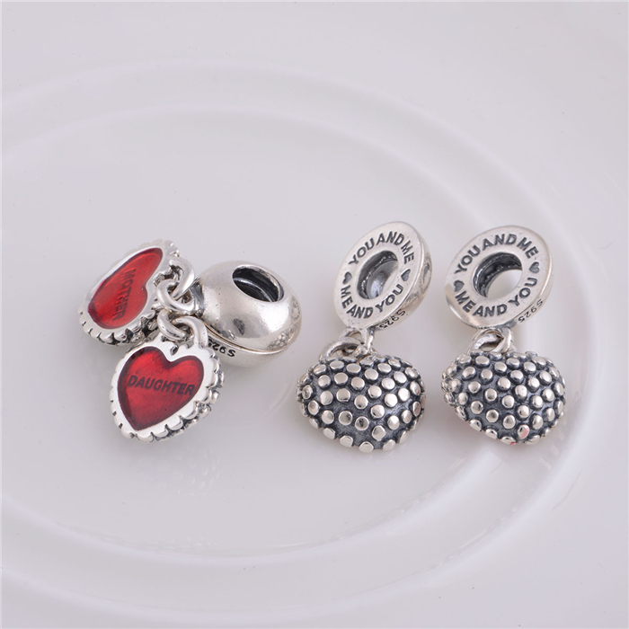 DIY Heart European CZ Crystal Charm Silver Spacer Beads Fit Necklace Bracelet