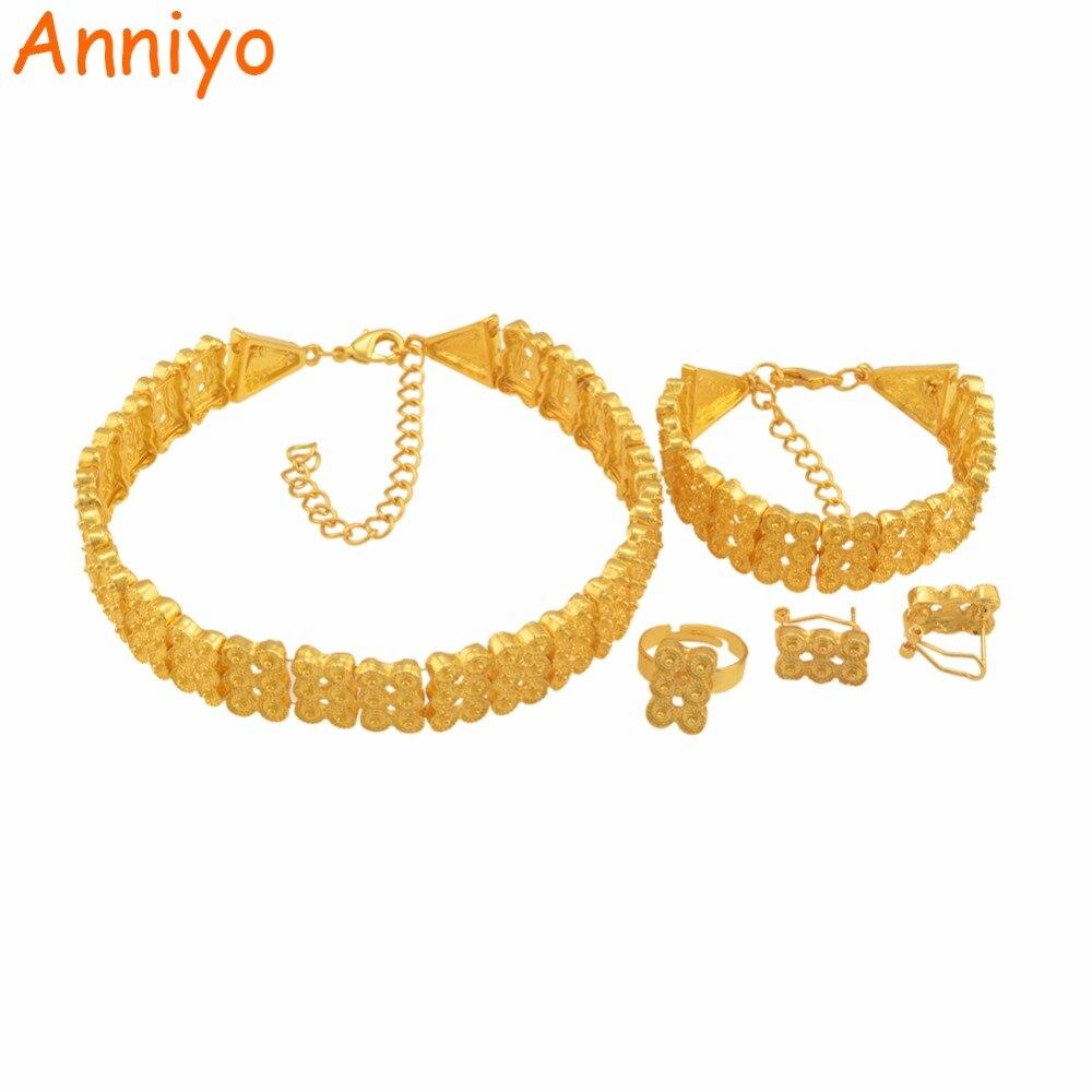 Anniyo Neueste Äthiopischen Halskette Ohrringe Ring Schmuck Sets Gold Farbe Afrikanische Eritrean Hochzeit Habesha Geschenke #062906 Brautschmuck Sets