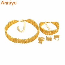 Anniyo Ethiopian Warna Emas Perhiasan Set Chokers Kalung Gelang Anting-Anting Cincin Afrika Eritrean Pernikahan Set #122006(China)