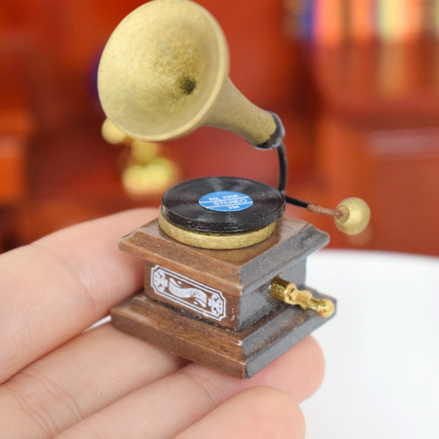 Vintage Mini Phonograph For 1/12 Doll House