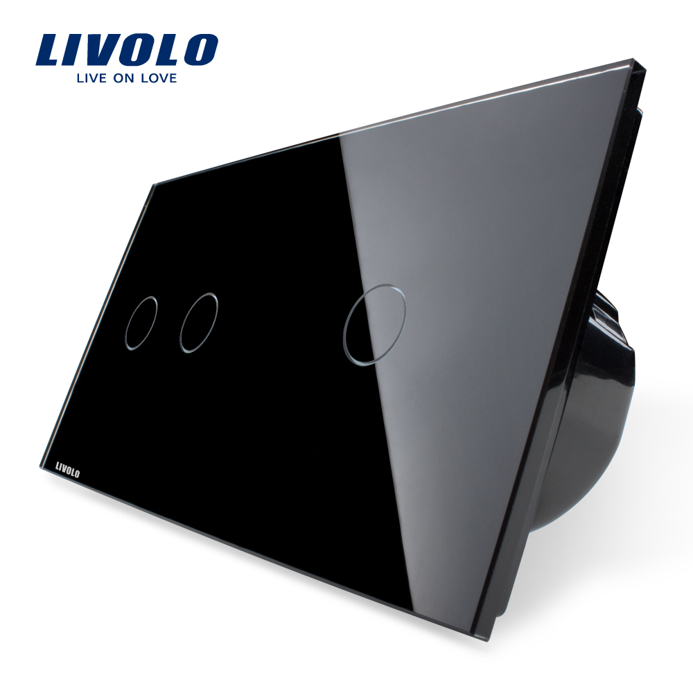 Livolo Manufacturer,Knight Black, Touch Switch, Crystal Glass Panel, Digital Touch Light Wall Home Switch, VL-C702-12/VL-C701-12 2017 free shipping smart wall switch crystal glass panel switch us 2 gang remote control touch switch wall light switch for led