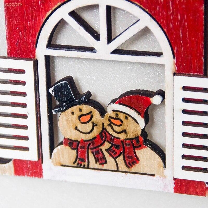 OOTDTY Christmas Tree Hollow Wooden Santa Claus Snowman Xmas Ornaments Hanging Pendant