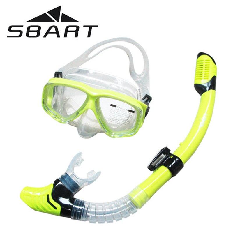 SBART Sports Nautiques Formation En Apnée Lunettes De Natation Équipement Anti-Brouillard Silicone Plongée sous-marine Masque Lunettes Plein-sec Tuba
