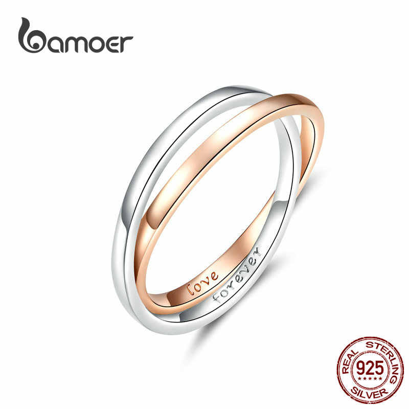 Two Colors Ring Double Circle Finger Rings for Couple Lover Genuine 925 Sterling Silver Engagement Jewelry BSR053