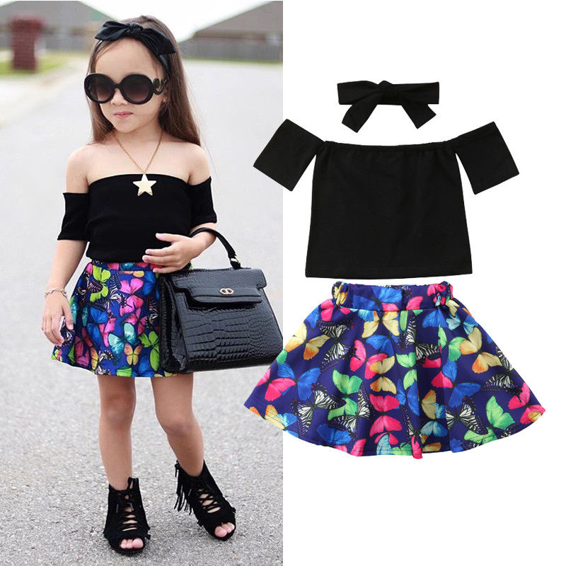 86aaa4637dab0a Little Girls 3Pcs Fashion Clothes Newborn Kids Baby Girl Off Shoulder Tops  Butterfly Skirt Outfits Clothing Set