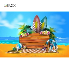 Laeacco Blue Sky Sea Beach Surfboard Swimming Grass Photography Background Customized Photographic Backdrops for Photo Studio