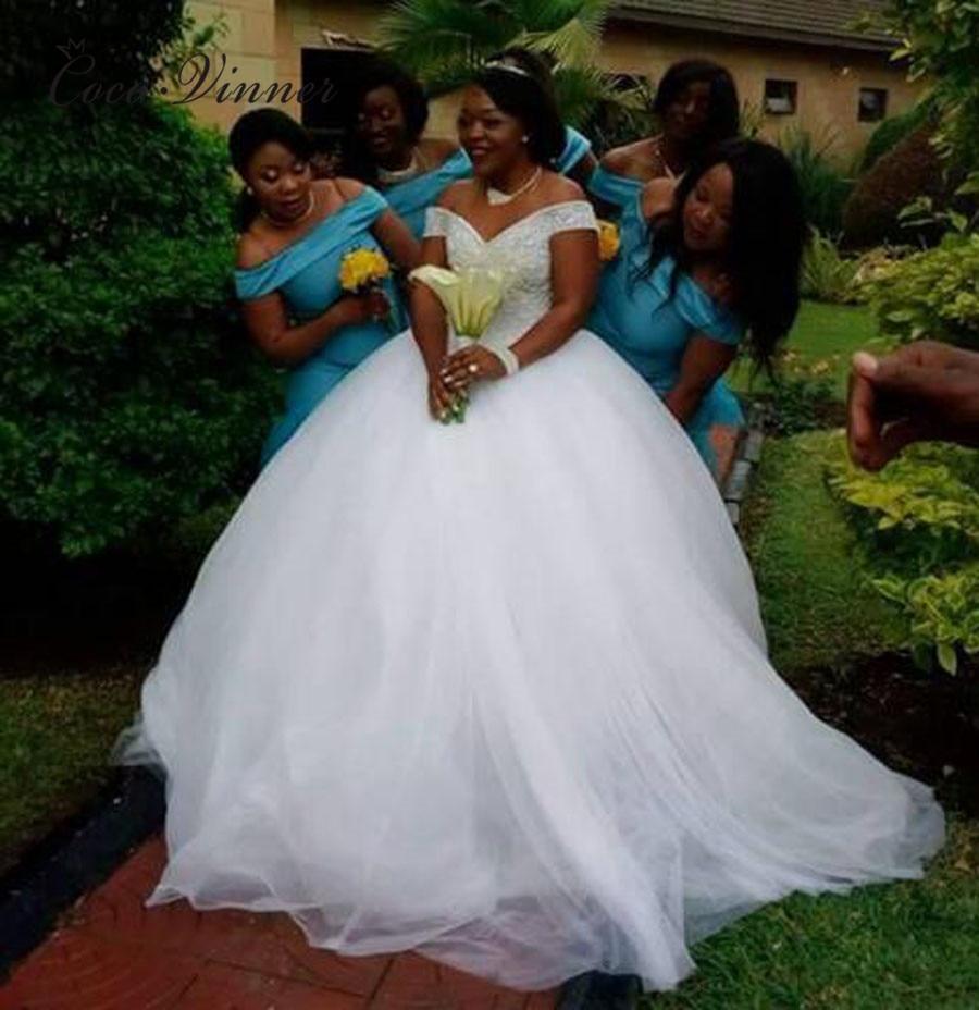 Vintage Princess Organza Tulle Wedding Dress 2019 Sequin Lace V neck Cap Sleeve mariage Lace bride