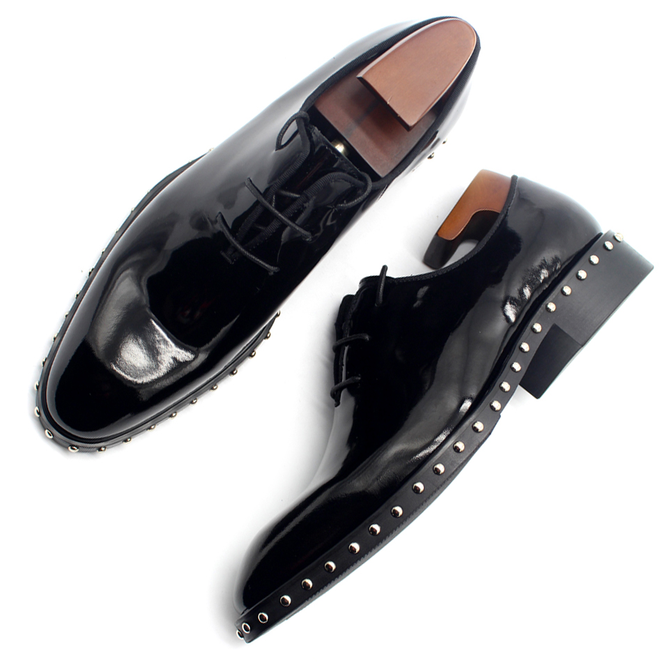 New coming pointed toe black patent leather oxford shoes cool men's rivets leather shoes top quality party oxfords for men EU46