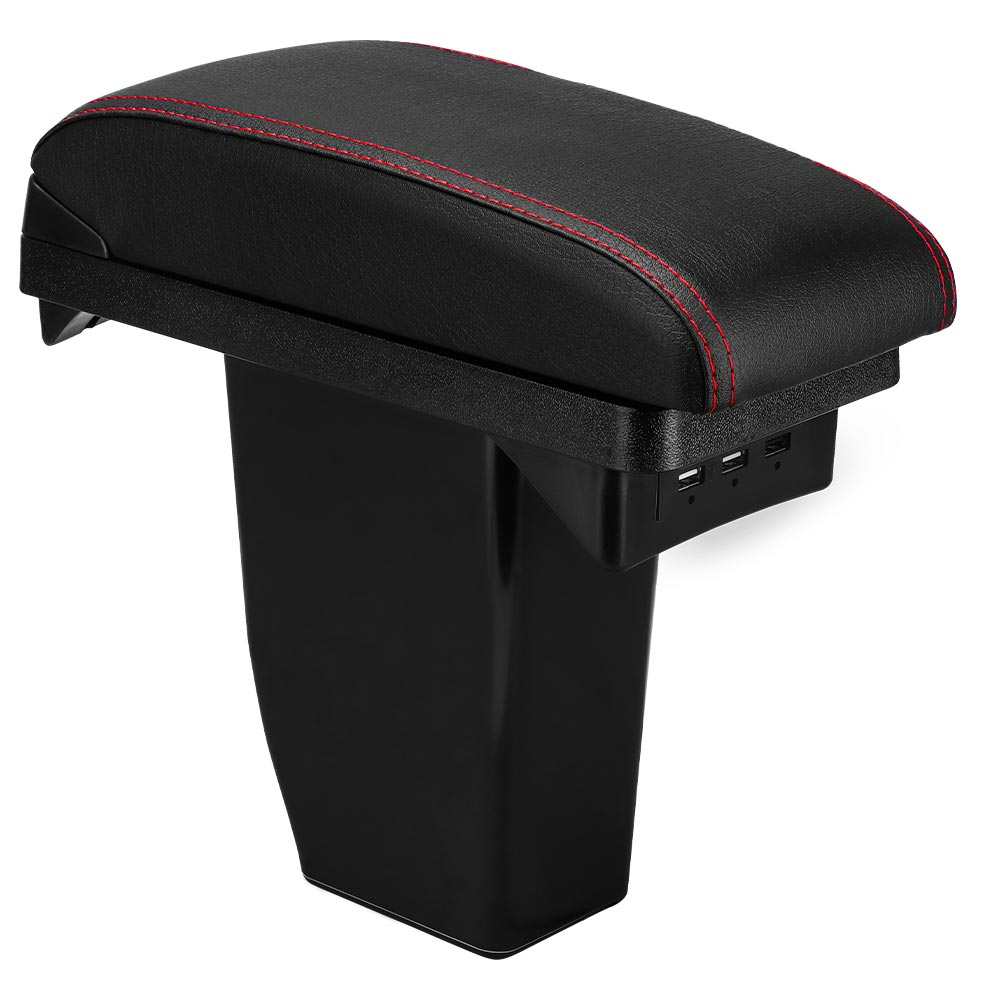 Armrest Box +3USB Black Leather Center New Storage Box Modification For Peugeot 2008