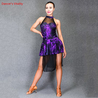 Fashion Latin Dance Dress Purple Leopard Print Splicing Mesh Cloth Short Dress For Women Rumba Samba Dance Performance Costumes