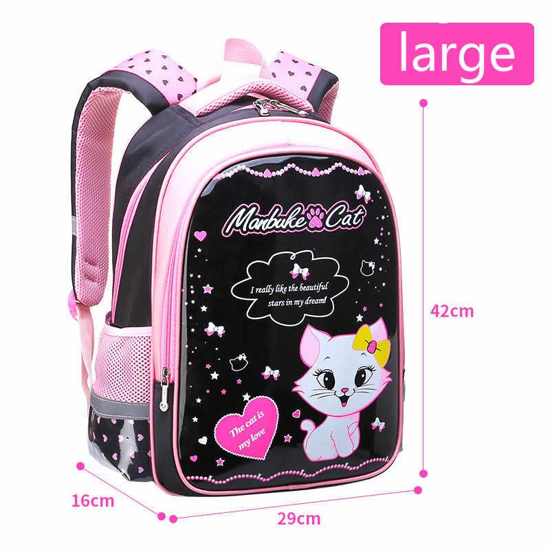 Crianças à prova dwaterproof água sacos de escola meninas mochila primária gato dos desenhos animados mochila escolar conjunto mochila infantil