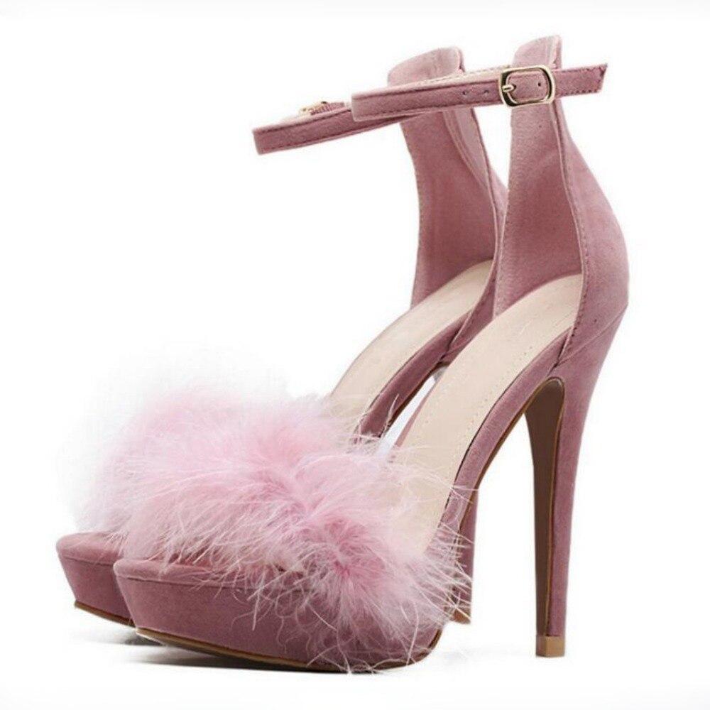 Korean Princess Style Pink Black Fur Sandals Platform Feather Dress Shoes Bridesmaids Dress Shoes Covered Heel Pumps Thin Heels детский велосипед для девочек mtr black aqua princess 14 kg1402 pink