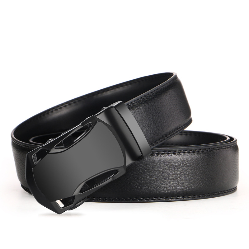 Mens Black   Belt   Luxury Cowskin Leather Automatic Buckle Business Men   Belts   Popular Fashion Designer Male   Belts