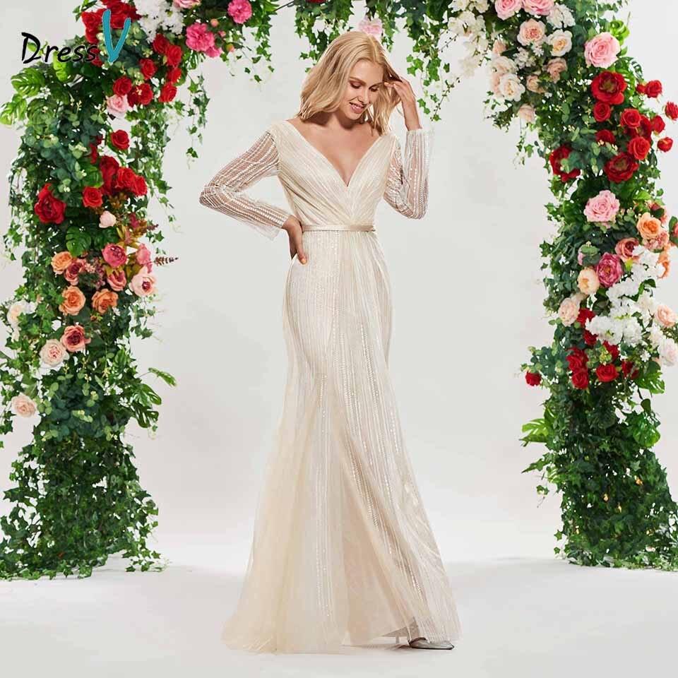 Dressv champagne mermaid wedding dress v neck long sleeves lace sashes floor length bridal outdoor&church wedding dresses