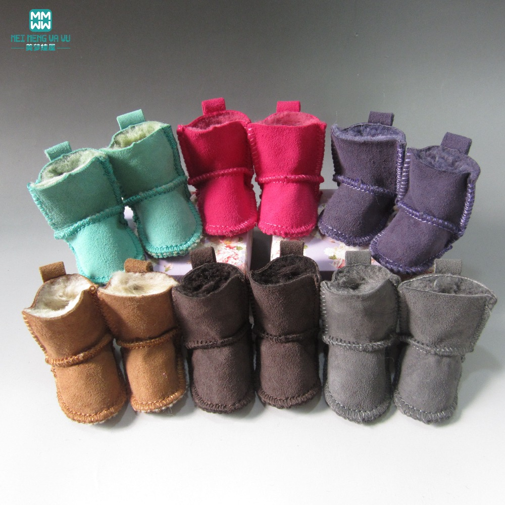 Doll Accessories 7cm snow boots Shoes for dolls fits16 Inch 40cm Sharon doll & 1/4 BJD doll handsome black army boots for bjd doll 1 4 1 3 sd17 uncle ssdf shoes sm8