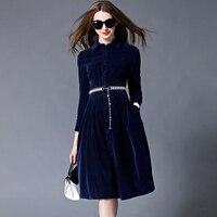 OL Style Blue Velvet Dress Winter Dresses Women 2016 Vestido Longo Woman Long Sleeve Office Dress