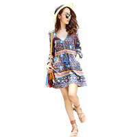 Boho Short Dresses Lantern Long Sleeve Cotton Ethnic Floral Print Tassel Hippie Summer Hress Vintage New