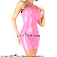 Розовый металлик с пикантные черные без бретелек платье латекса резиновая карандаш платье Bodycon Playsuit LYQ 0133