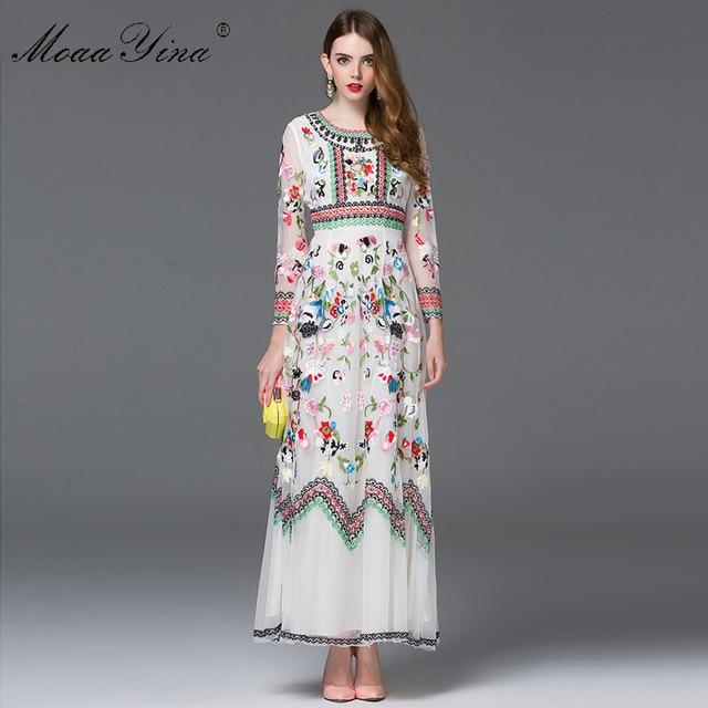 MoaaYina Fashion designerska sukienka wiosna kobiety z długim rękawem haft sztuczne kwiaty Casual Retro elegancka sukienka wysokiej jakości