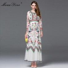 Moaayina Fashion Designer Jurk Voorjaar Vrouwen Lange Mouwen Borduren Mesh Bloemen Casual Retro Elegante Jurk Hoge Kwaliteit