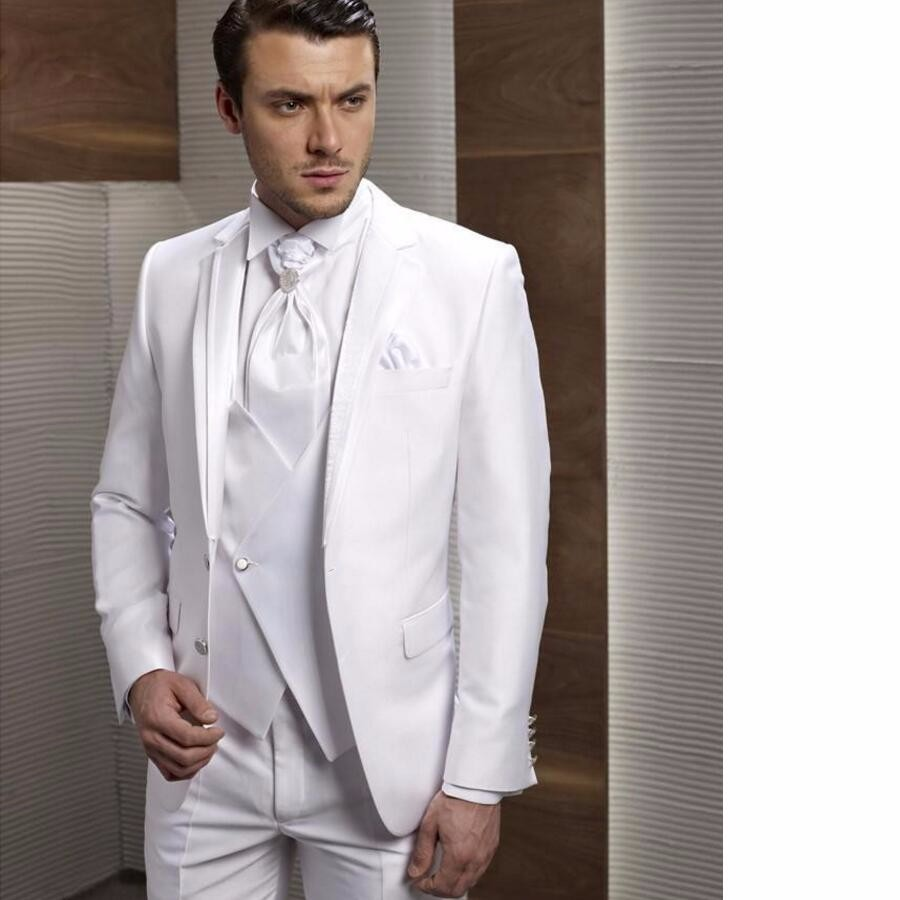 10.1 Custom Made New Style Groom Tuxedos Notch Lapel Men\'s Suit White Groomsman Bridegroom Wedding Prom Suits (Jacket+Pants+Tie+Vest)
