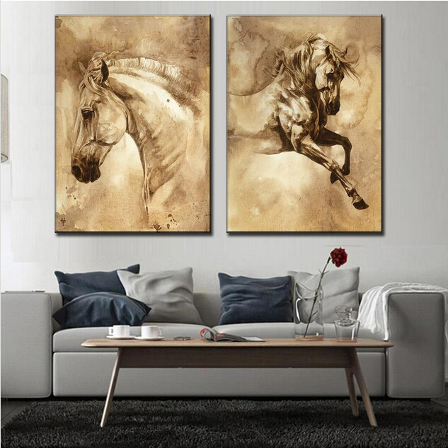 3d Garden Wallpaper Free 2 Pcs Set Modern European Oil Painting Horse On Canvas