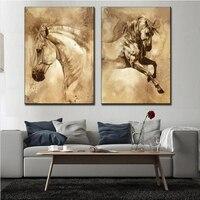 2 Sztuk/zestaw Nowoczesny Europejski Obraz Olejny Konia Na Płótnie Wall Art Picture Zdjęcia Ścienny do Salonu Nowoczesne Malowanie Ścian